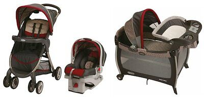Graco FastAction Baby Stroller, SnugRide Car Seat & Playard Travel System|Finley on Rummage