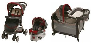 Graco-FastAction-Baby-Stroller-SnugRide-Car-Seat-Playard-Travel-System-Finley