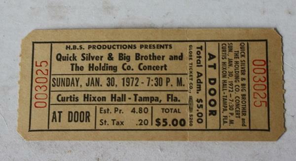 Qiuck Silver Big Brother and The Holding Company 1972 Concert Ticket Stub Tampa