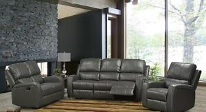 Leather air 3 piece recliner set, grey or cream, New in packages