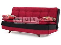 **NEW ARRIVAL** BRAND NEW 3 SEATER FABRIC STORAGE SOFA BED, PILLOW TOPPER FOAM RED/BLACK COM SOFABED