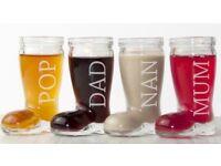 Personalised set of 4 santa's boot shot glasses
