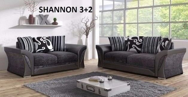 Uk Built Grey Black Fabric Leather 3 And 2 Or Corner Sofa With Many Other  Sofas On Offer Call Now
