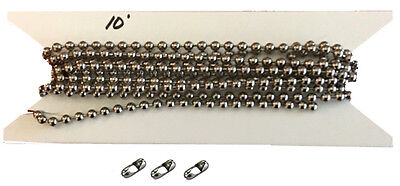 Nickel Steel Chain - 10ft. Nickel Plated Steel Vertical Blind Chain 4.5mm Ball Diameter. 3 connectors