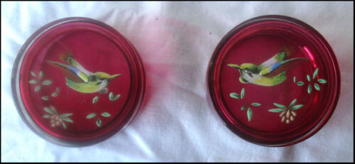 BEAUTIFUL VICTORIAN TRUE PAIR RUBY GLASS TRINKET BOXES  HAND PAINTED GILT.