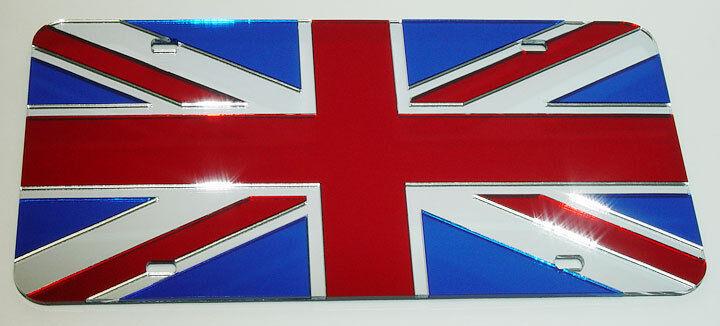 UNION JACK ENGLAND PATRIOTIC COUNTRY MIRROR LASER CUT ACRYLIC LICENSE PLATE