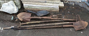 Assorted outdoor tools for yard work