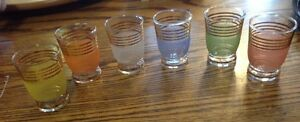Vintage 1960 frosted pastel glasses. 6 verres à shooter givré Gatineau Ottawa / Gatineau Area image 6