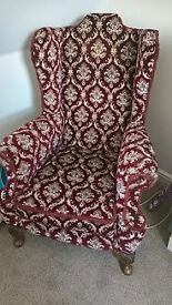 Pair of high back arm chairs