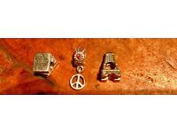 3 charms, can be sold separately, study, BND/Peace, Eiffel Tower