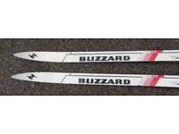 X-country skis Blizzard, three pin toe bindings.