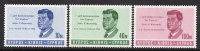 Cyprus MNH 1965 SG256-58 Kennedy Commemoration