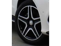 """ORIGINAL MERCEDES BENZ 20"""" ALLOY WHEELS & TYRES 5 TWIN SPOKE AMG - PAINTED HIGH GLOSS BLACK FINISH"""