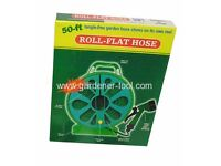 BRAND NEW BOXED 50 FOOT COMPACT FLAT GARDEN HOSE ( 2 remaining)