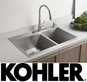 "NEW* KOHLER OFFSET KITCHEN SINK - 125633302 - VAULT 32""x22"" DOUBLE BOWL W/ 4 HOLE FAUCET DRILLING"