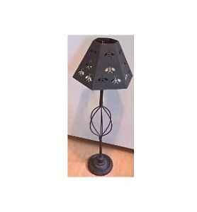 Vintage Wrought Iron Floor Standing Candle Holder / Lamp
