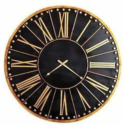 Antique Style Black Gold Wall Clock 45 in Train Station Round Oversize