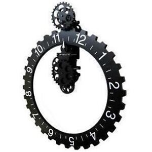 Retro  Modern Large Wall Art Gear Clock antique Vintage black