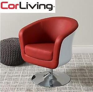 NEW CORLIVING LEATHER TUB CHAIR DLN-250-C 229968351 RED  WHITE MOD MODERN BONDED