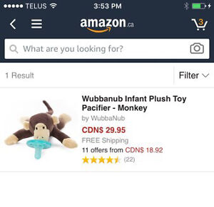 Wubbanub infant toy pacifier monkey (brand new in box) Kitchener / Waterloo Kitchener Area image 1