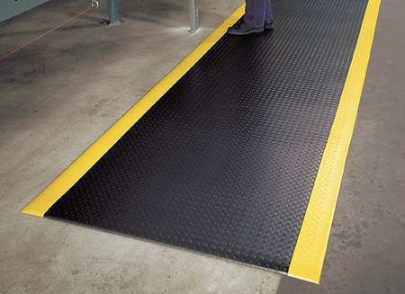 NOTRAX 419S0312BY Black/Yellow Antifatigue Runner 3 ft W x 12 ft L, 1/2 in, PVC