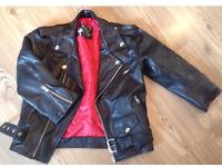 Sheepskin cropped leather biker jacket red lining celeb 6 8 10 12 Alexa Chung Kate Moss