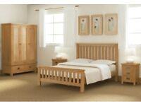 Lanner Oak 4'6ft Bed & Lanner Oak Bedside Tables & Traditional Bonnell Spring Mattress 4'6ft