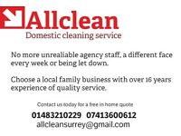 Cleaning and Ironing service. Excellent references/rates/reliability.est 1999 Woking/Guildford area.