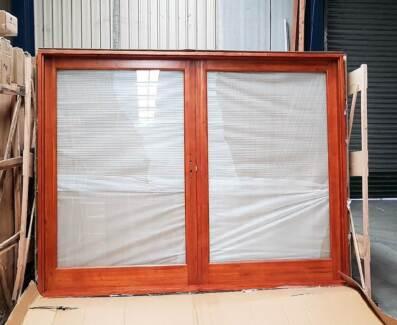 SOLID CEDAR 2700Wx2100H- 2 PANEL FRENCH DOOR