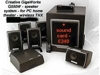 creative gigaworks 5.1 and sound card , for PC