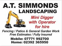 A T Simmonds Mini Digger Hire & Landscaping