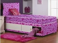 Single Girls bed with headboard and underbed storage (NO MATTRESS)