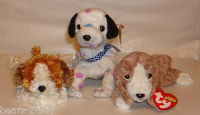 NEW TY 3 Dogs Puppies Sampson + Dizzy + Sniffer Best of Friends Ideal