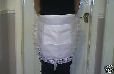ADULT LADIES WHITE COTTON / WHITE LACE DETAIL WAITRESS APRON/PINNY retro vintage - Retro Waitress Costume