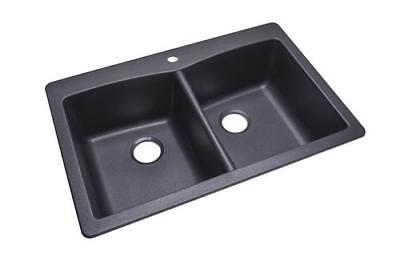 "33"" Kitchen Sink 1 Hole Dual Mount Double Bowl Black Classic Granite Composite"