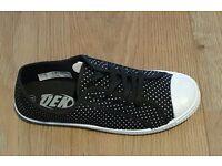 Womens Lace Up Canvas Shoes Flat Daps Various Sizes UK3 - UK8 Pink, Blue & Black