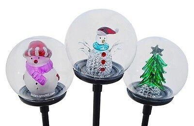 Solar Wholesale 1041 Solar 2 Snowmans & 1 Christmas Tree Glass Balls LED Lights (2 Red Solar Ball)