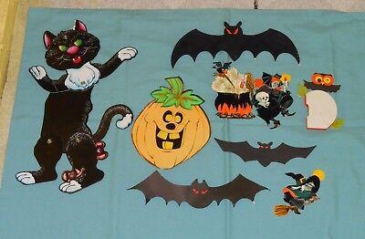vintage Halloween SMALL DECORATIONS LOT flocked bat, witch, Hallmark honeycomb