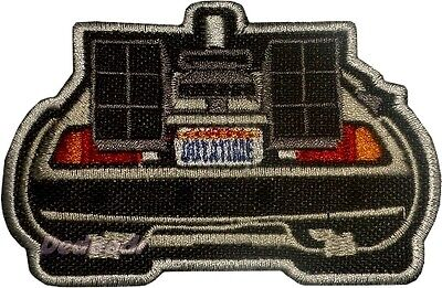 Back to the Future Embroidered Patch The Time Machine Delorean Back View Flying