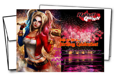 Harley Quinn Party Supplies (12 Harley Quinn Birthday Invitation Cards (12 White Envelops Included))