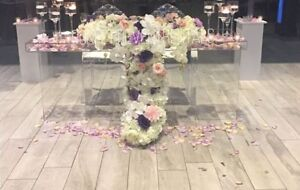 Clear table, sweet table and wedding table rentals