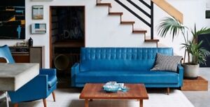 1950's Night and Day blue lounge plus two armchairs.