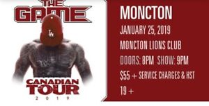 Two tickets for sale for The Game concert in Moncton