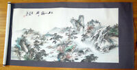 Large hand painted Chinese watercolor mountain scene from Xi'an.