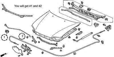 Genuine OEM Honda 1998 2002 Accord Hood Prop Rod_171324682917