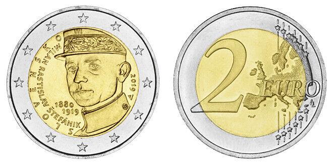 SLOWAKEI 2 EURO 100. TODESTAG VON MILAN RASTISLAV STEFANIK 2019 bankfrisch