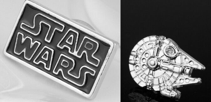 2 Star Wars Pins NEW Millennium Falcon& Star Wars Logo May the Force Be With You
