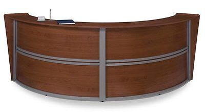 Contemporary Double Unit Reception Desk In Cherry Finish With Silver Frame