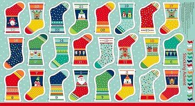 Novelty Christmas Stockings Bunting Advent Calendar Quilting Panel Fabric - Novelty Christmas Stockings