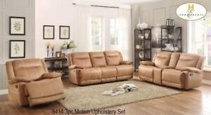 3 PC Leather Recliner Set in Beige For Living Area MA10 8414UP (BD-1396)